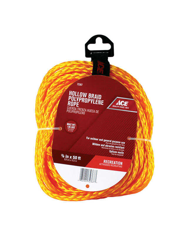 Ace  50 ft. L x 3/8 in. Dia. Braided  Gold  Rope  Poly