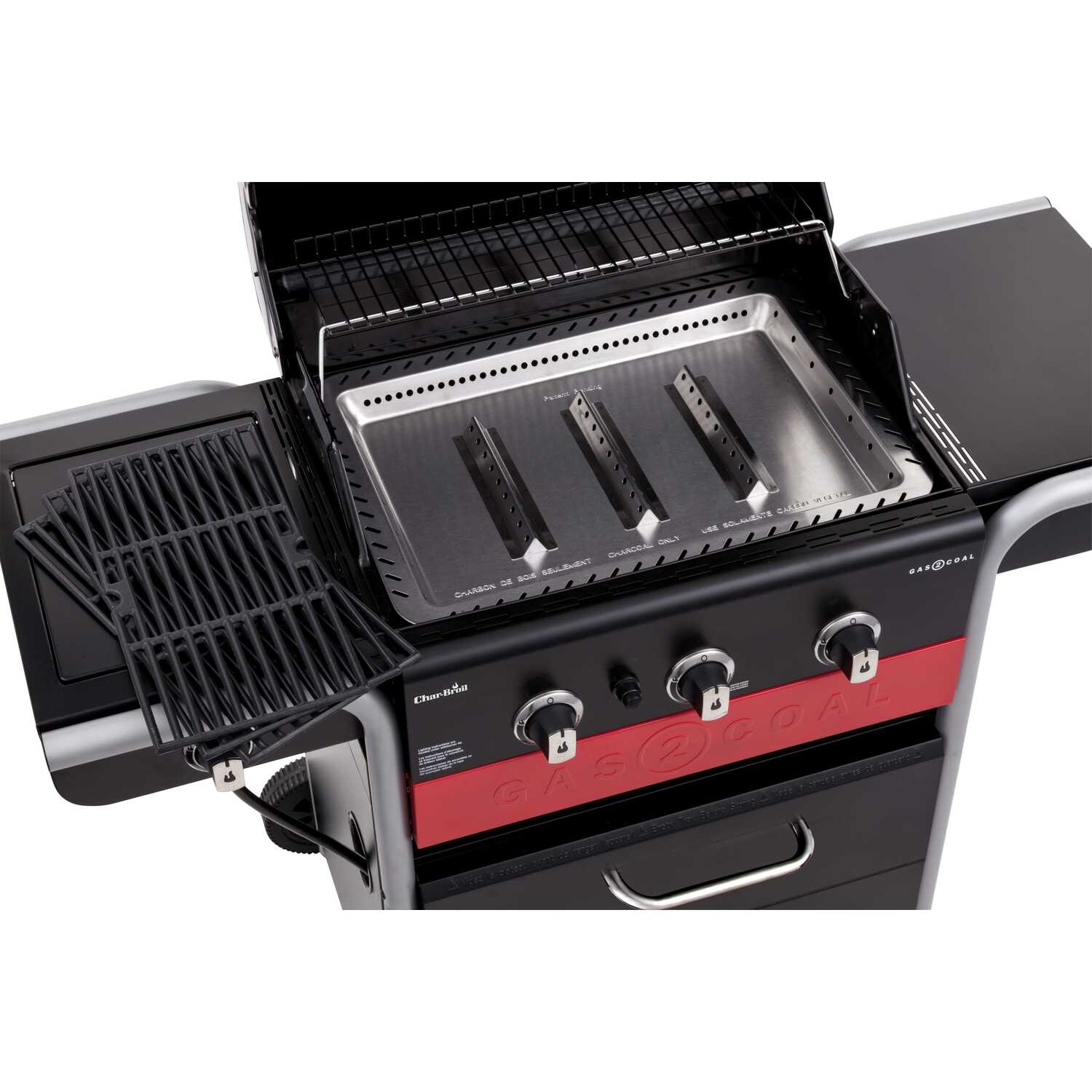 Char-Broil  Gas2Coal  Multi-Fuel  Freestanding  3 burners Black  Grill