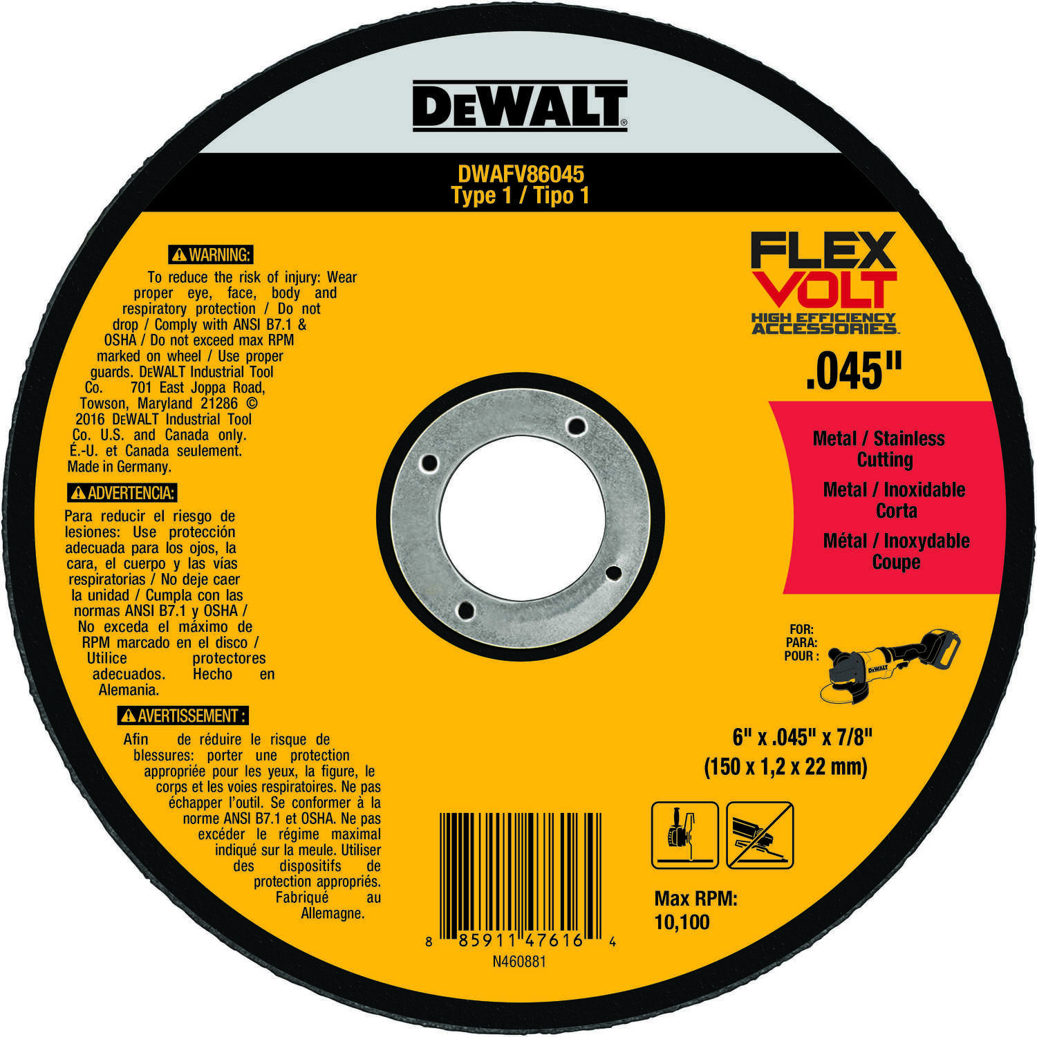 DeWalt  FlexVolt  6 in. 7/8 in. in.  Ceramic  Metal Cutting Wheel  1 pc.