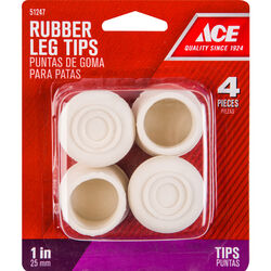 Ace  Rubber  Leg Tip  Off-White  Round  1 in. W 4 pk