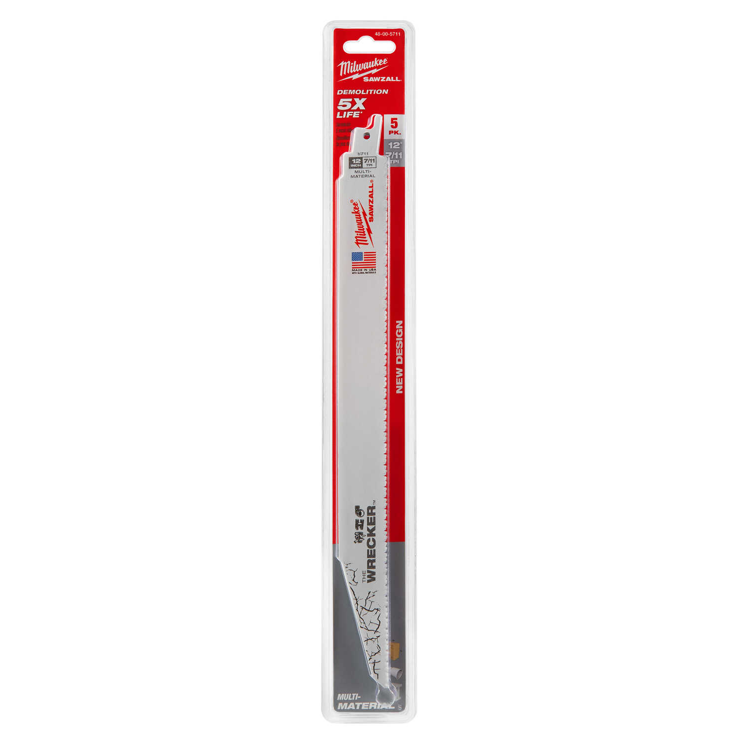 Milwaukee  The WRECKER  12 in. Bi-Metal  Demolition  Reciprocating Saw Blade  7/11 TPI 5 pk