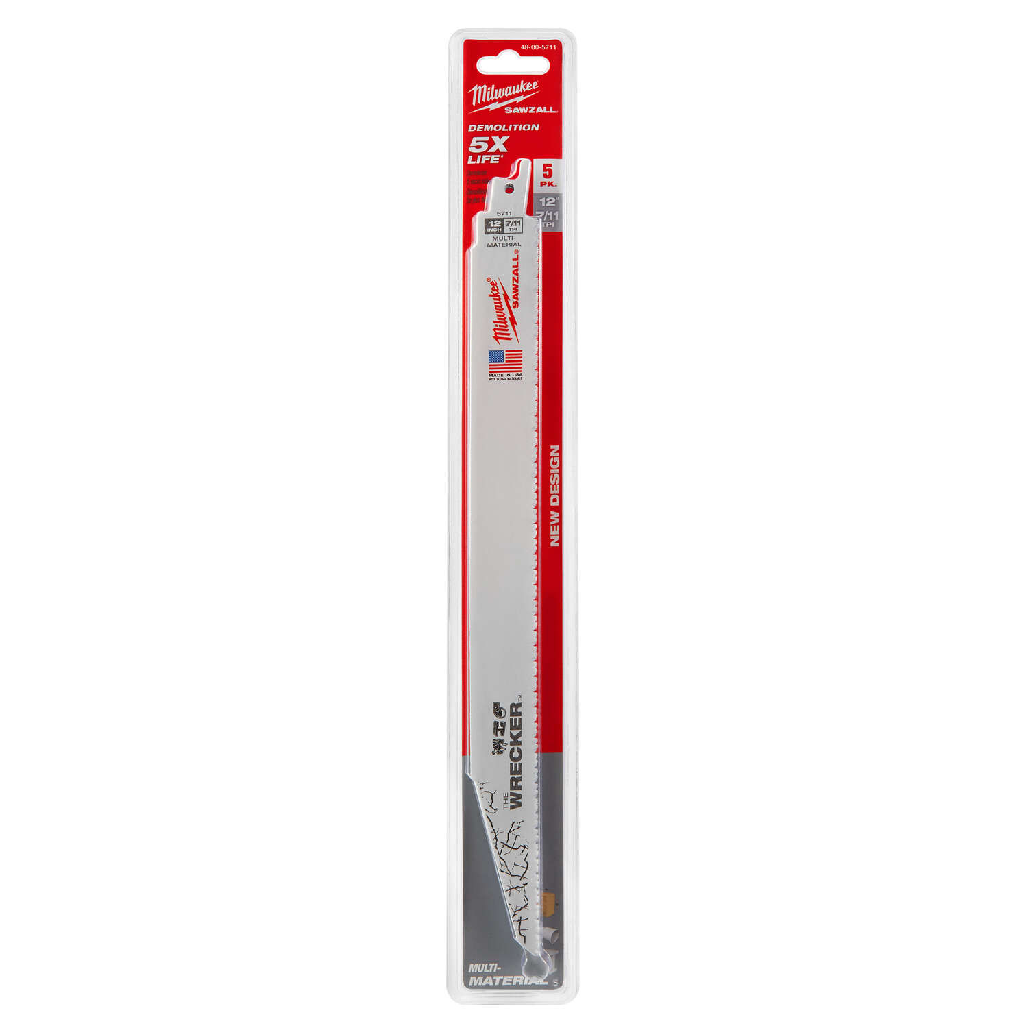 Milwaukee  The WRECKER  12 in. L x 1 in. W Bi-Metal  Demolition  Reciprocating Saw Blade  8 TPI 5 pk