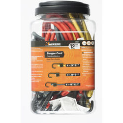 Keeper  Assorted  Bungee Cord  0.315 in. L x 0.315 in.  12 pk