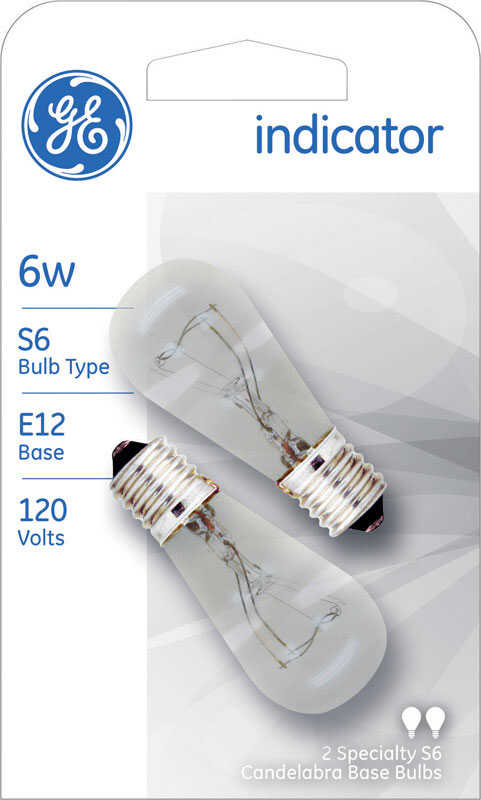 GE  6 watts S6  Specialty  Incandescent Bulb  E26 (Medium)  Soft White  2 pk