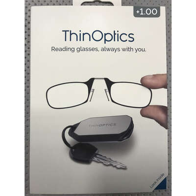 ThinOptics  Always With You  Black  Reading Glasses w/Keychain Case  +1.00