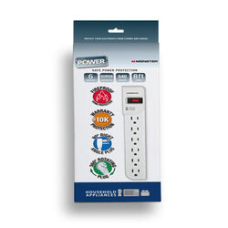 Monster Cable  Just Power It Up  540 J 8 ft. L 6 outlets Surge Protector