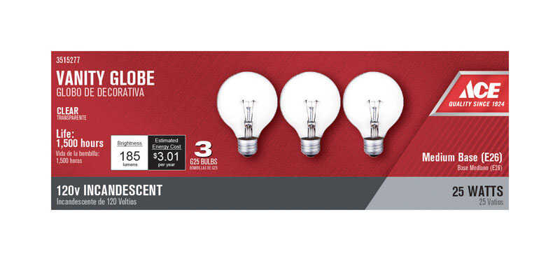 Ace  25 watts G25  Incandescent Light Bulb  185 lumens White (Clear)  Globe  3 pk