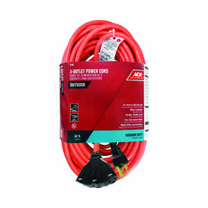 Ace  Indoor and Outdoor  50 ft. L Orange  Triple Outlet Cord  14/3 SJTW