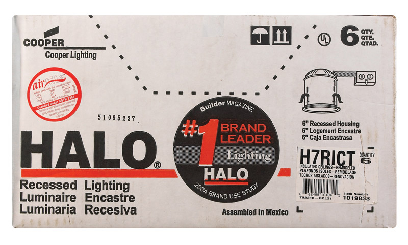 Halo  Silver  6 in. W Recessed Lighting Housing  LED  Aluminum