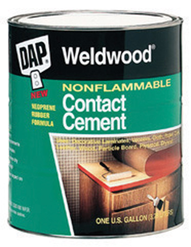 DAP Weldwood High Strength Synthetic Rubber Contact Cement 1 qt. Weldwood nonflammable contact cement is a high solids polychloroprene, waterborne contact adhesive that meets the stringent requirements of the professional user.
