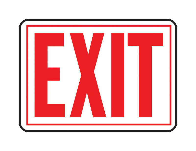Hy-Ko  English  Exit  10 in. H x 14 in. W Sign  Aluminum