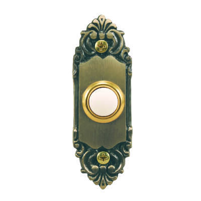 Heath Zenith  Antique Brass  Metal  Wired  Pushbutton Doorbell