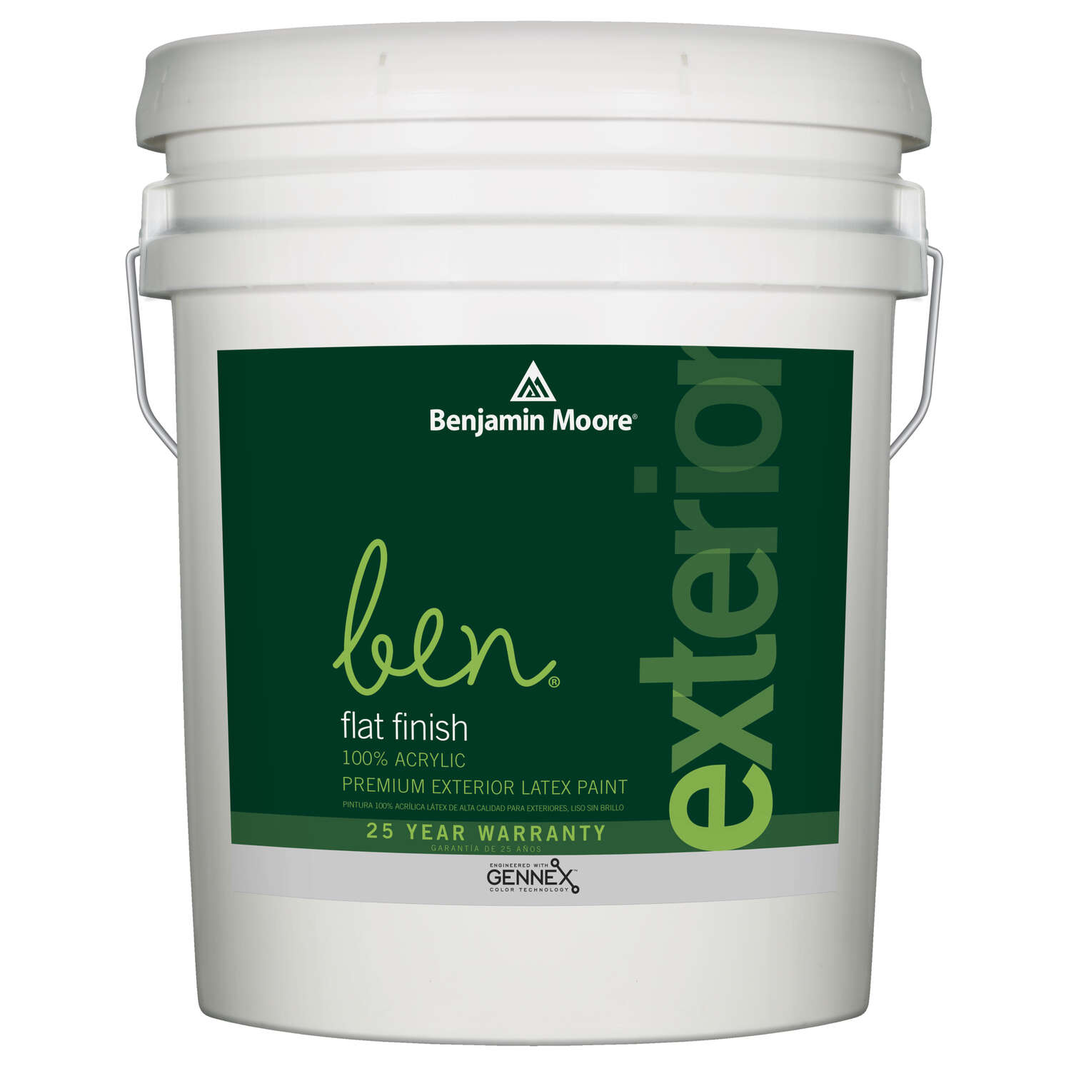 Benjamin Moore  Flat  White  Acrylic  Paint  Outdoor  5 gal.
