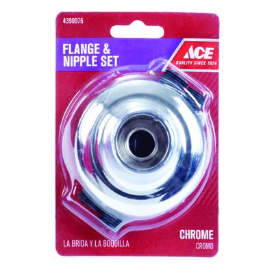 Ace  OEM  Chrome  Chrome  Flange and Nipple Set  For Universal