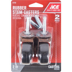 Ace 2 in. Dia. Swivel Soft Rubber Caster 80 lb. 2 pk