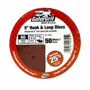 Gator  Aluminum Oxide  Hook and Loop  60 Grit Coarse  50 pk Sanding Disc  5 in.