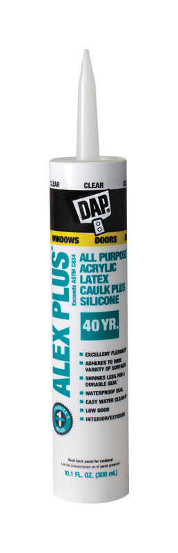 DAP  Alex Plus  Clear  Caulk  Acrylic Latex  10.1 oz.