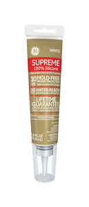 GE  Supreme  White  Supreme Silicone  Kitchen and Bath  Silicone  2.8 oz.