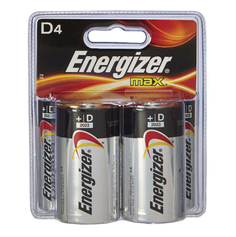 Energizer  MAX  D  Alkaline  Batteries  1.5 volts 4 pk Carded