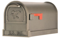 Gibraltar Mailboxes  Arlington  Galvanized Steel  Post Mounted  Bronze  Mailbox  11 in. H x 9-1/2 in