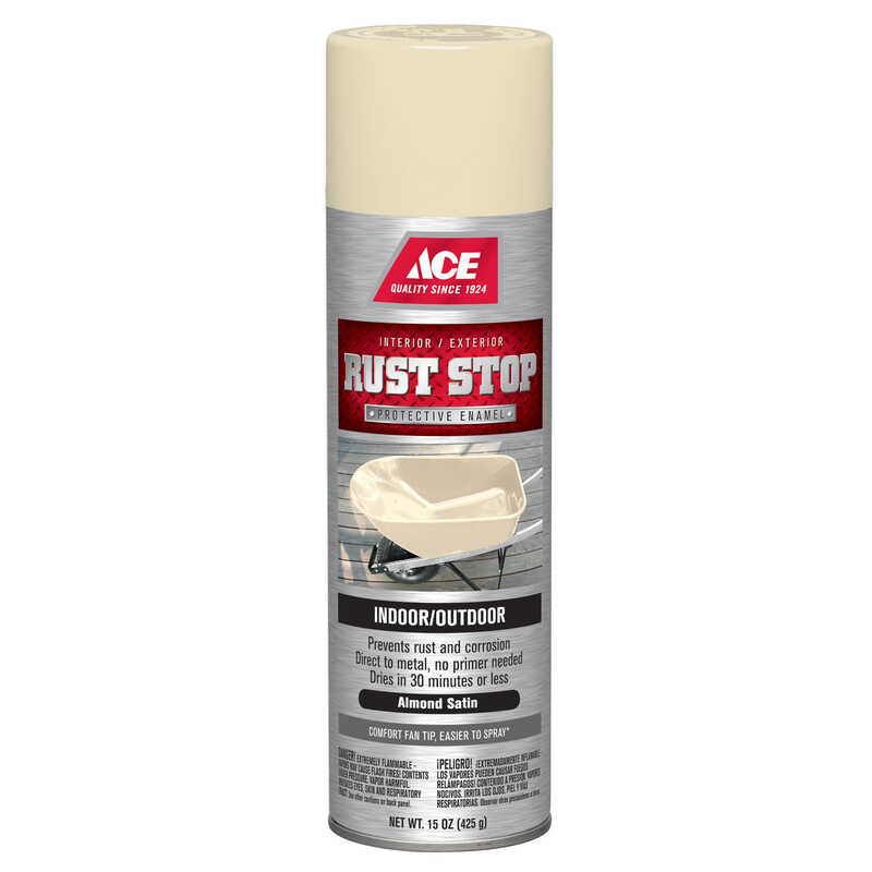 Ace  Rust Stop  Satin  Almond  Spray Paint  15 oz.