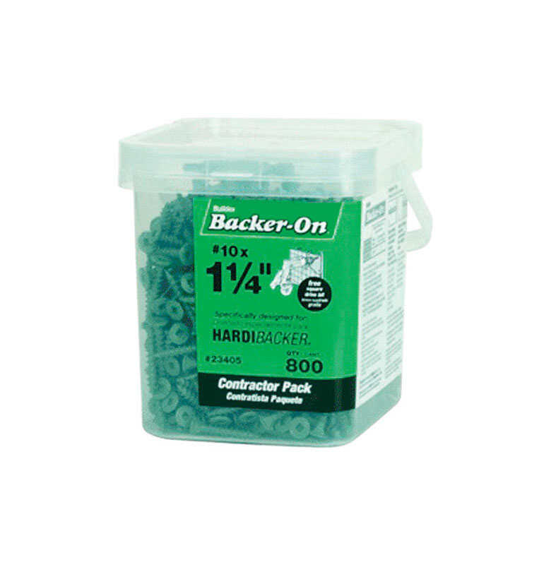 ITW  Backer-On  No. 10   x 1-1/4 in. L Phillips  Round  Steel  Cement Board Screws  800 per box 1 pk