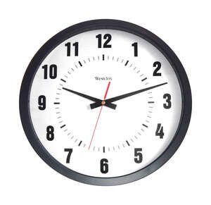 Westclox  14 in. L x 12 in. W Indoor  Analog  Wall Clock  Black/White  Plastic