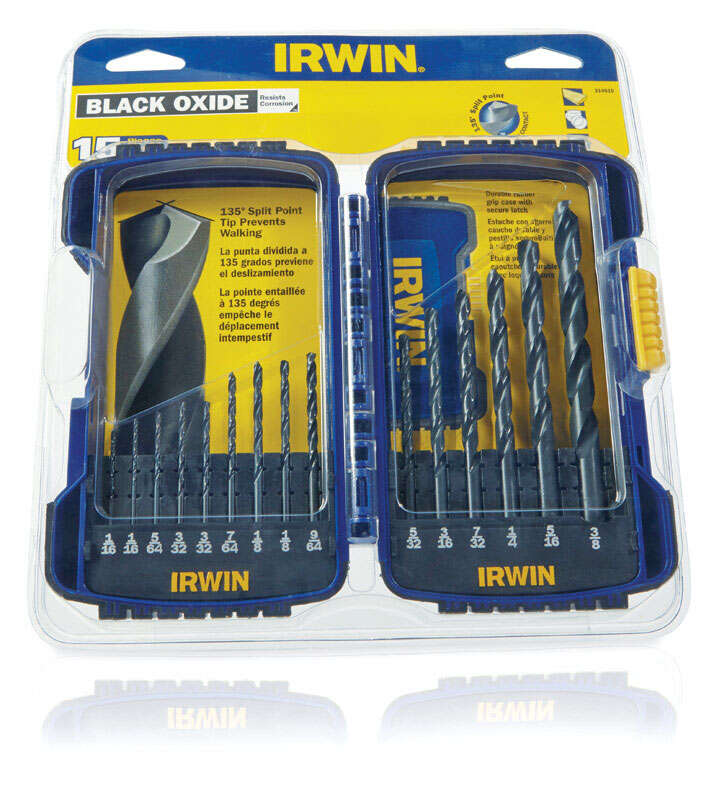 Irwin  Multi Size  Dia. x Multiple  L Black Oxide  Drill Bit Set  Straight Shank  15 pc.
