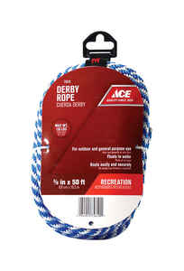 Ace  3/8 in. Dia. x 50 ft. L Solid Braided  Poly  Blue/White  Derby Rope
