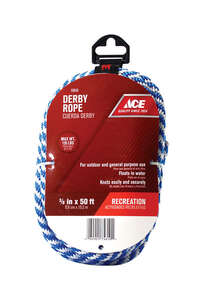 Ace  50 ft. L x 3/8 in. Dia. Blue/White  Poly  Derby Rope  Solid Braided