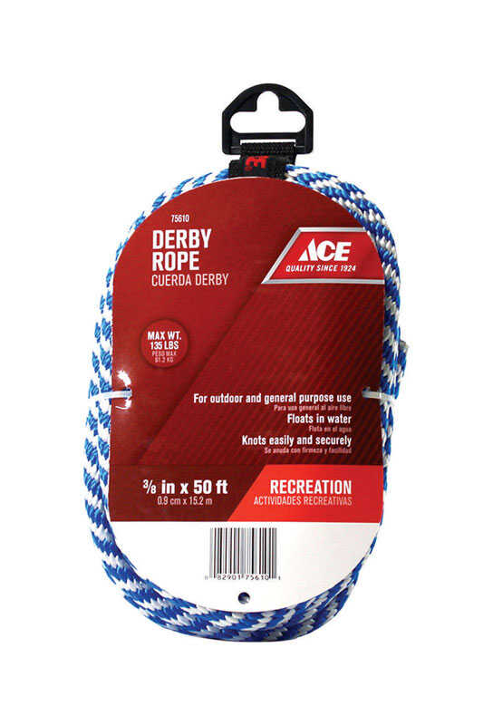 Ace  3/8 in. Dia. x 50 ft. L Blue/White  Solid Braided  Poly  Derby Rope