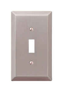 Amerelle  Brushed Nickel  1 gang Stamped Steel  Toggle  Wall Plate  1 pk