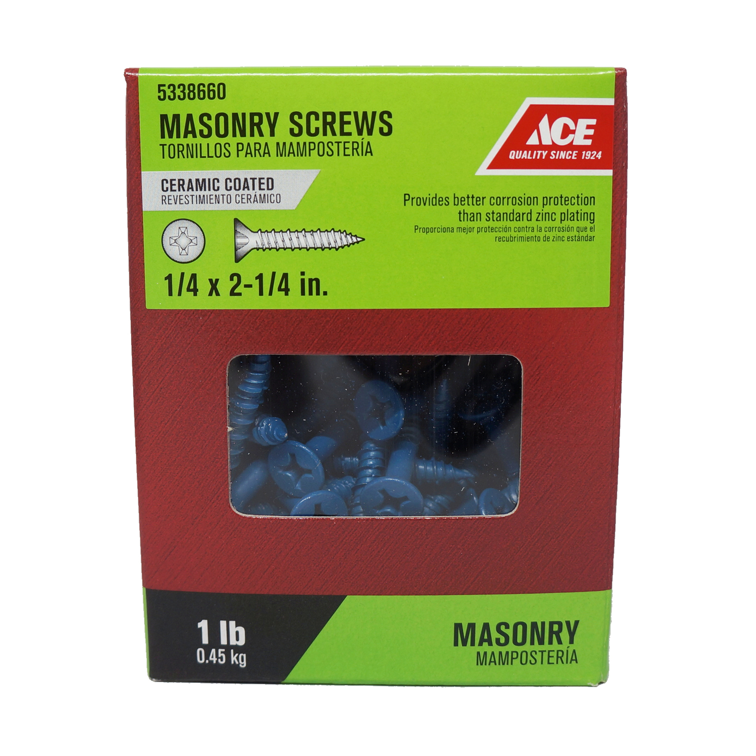 Ace  1/4 in.   x 2-1/4 in. L Phillips  Flat Head Ceramic  Steel  Masonry Screws  1 lb. 51 each