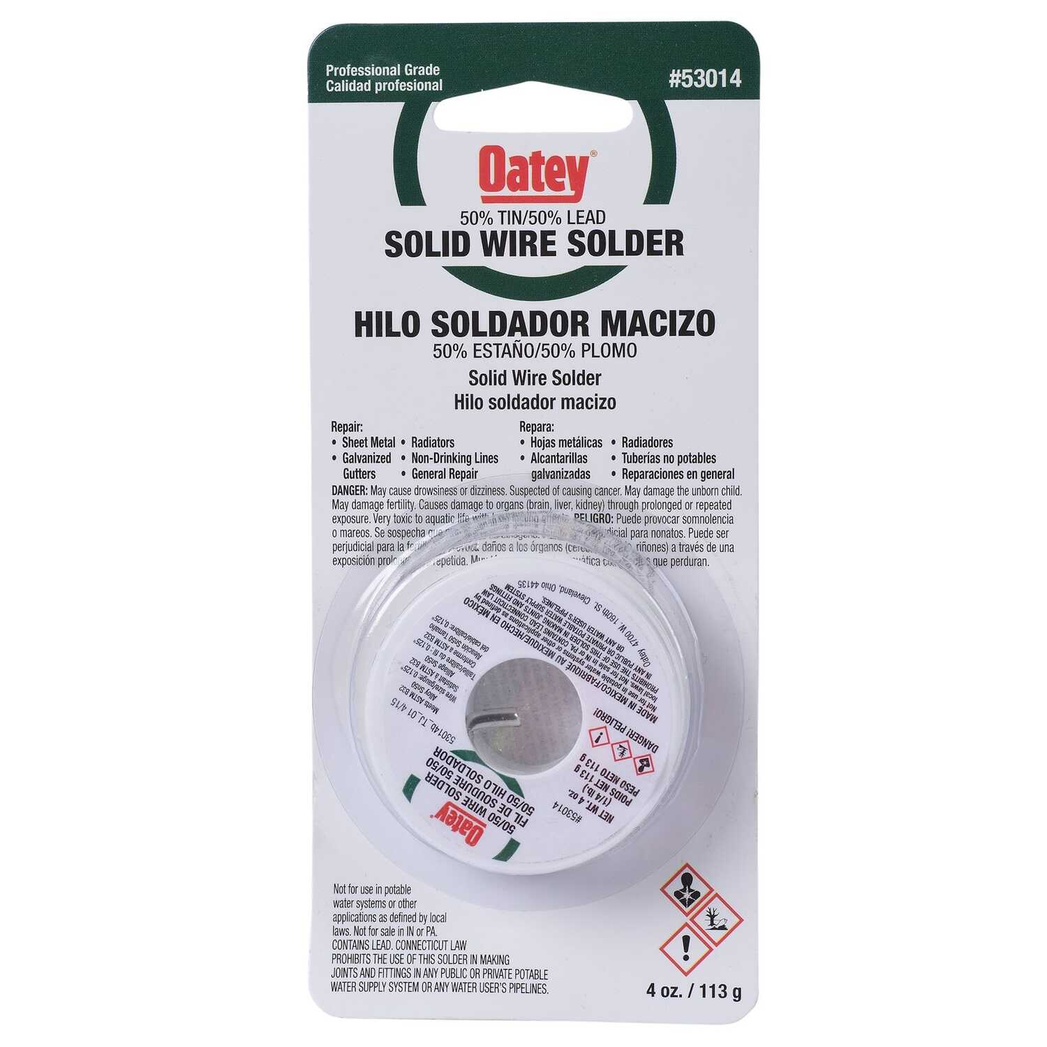 Oatey  4 oz. Solid Wire Solder  0.125 in. Dia. x 1/4 lb.  Tin/Lead  50/50