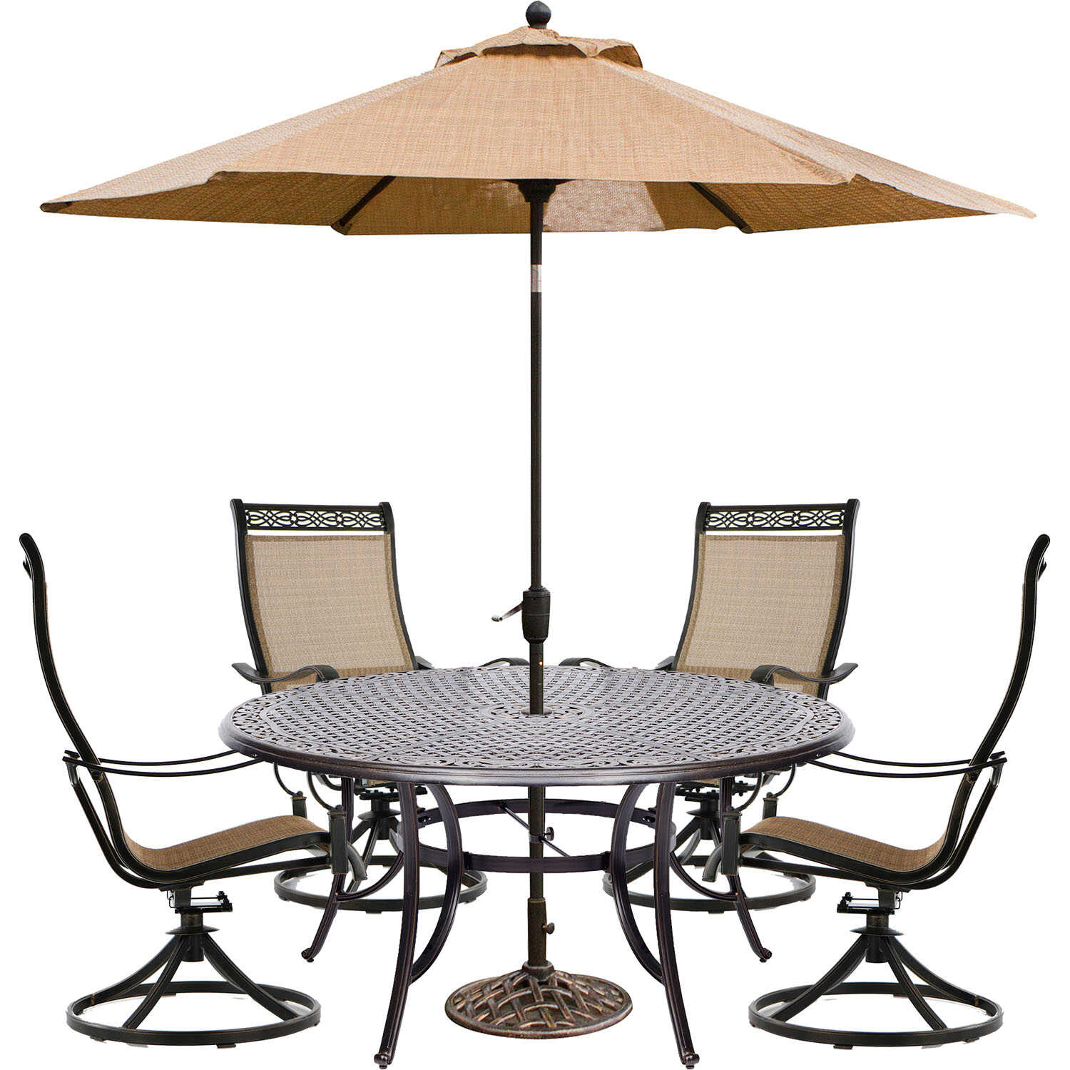 Hanover  6 pc. Brown  Aluminum  Dining  Patio Set