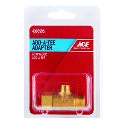 Ace Add A Tee 3/8 in. Female Compression Swivel x 1/4 in. Dia. Male Compression Brass Adapter