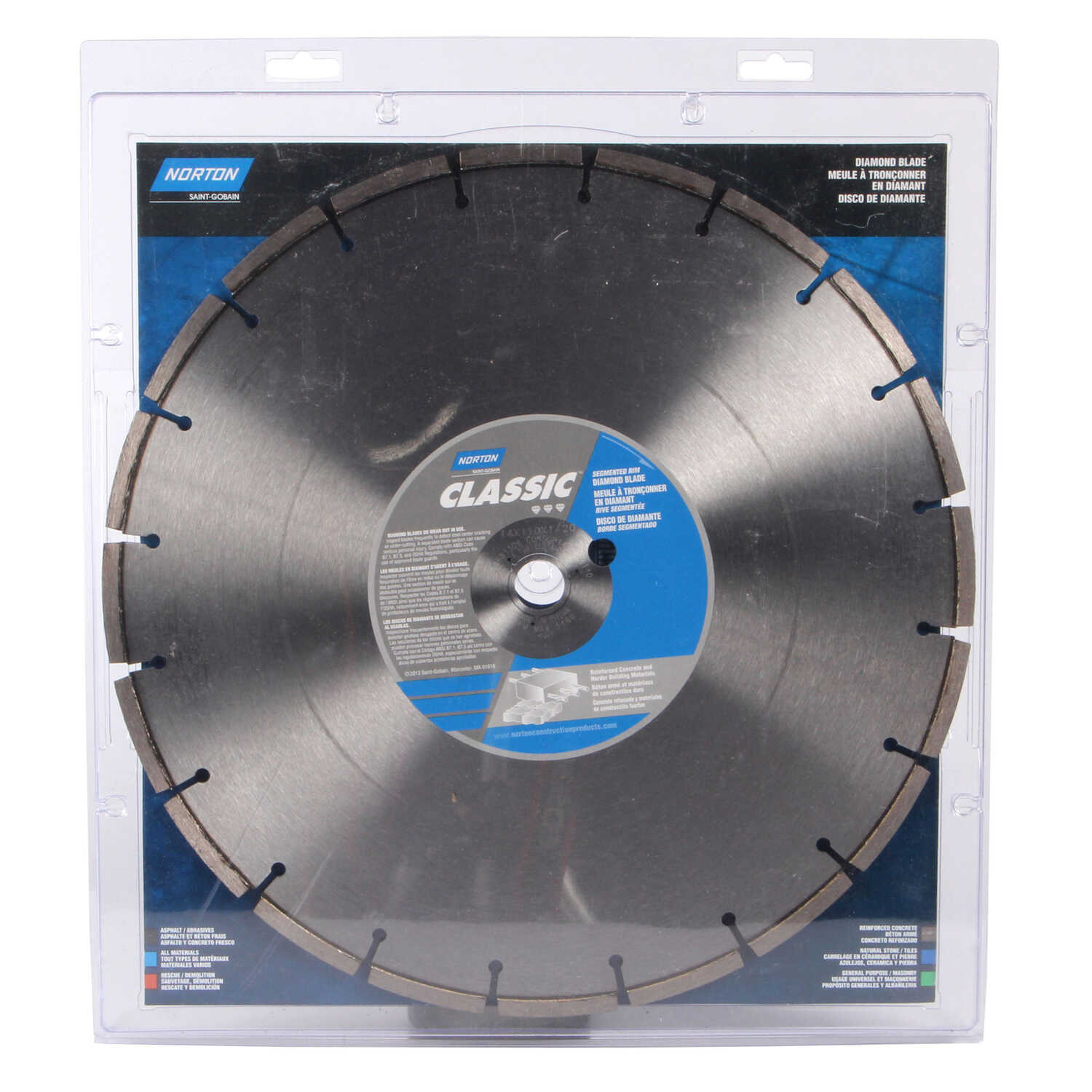 Norton  Classic  14  0.11 in.  Segmented Rim Saw Blade  1 in./20 mm  1 pk Diamond
