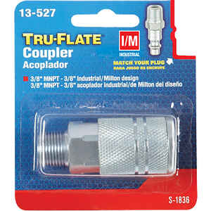 Tru-Flate  Steel  Quick Change Coupler  3/8 in. Male  1 pc.