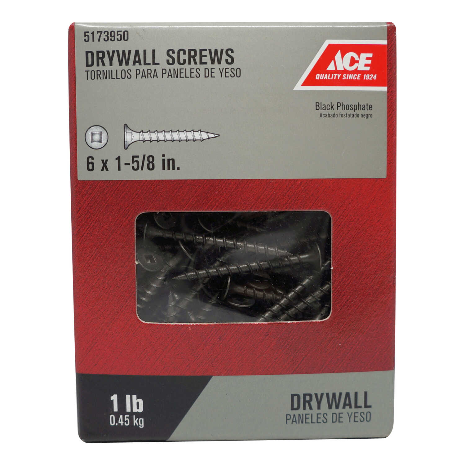 Ace  No. 6   x 1-5/8 in. L Square  Bugle Head Black Phosphate  Steel  Drywall Screws  1 lb. 230 pk