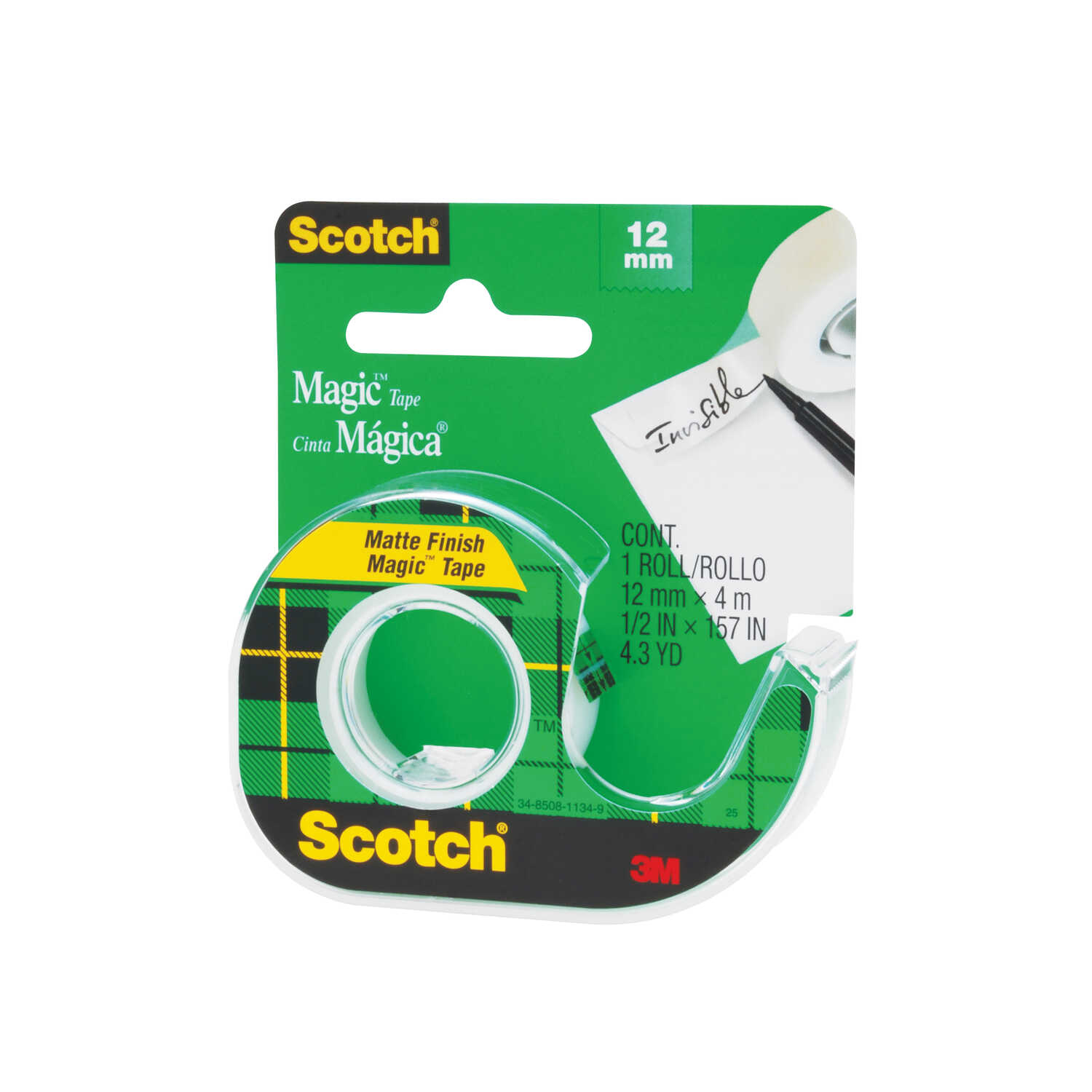Scotch  1/2 in. W x 12.5 yd. L Tape  Clear