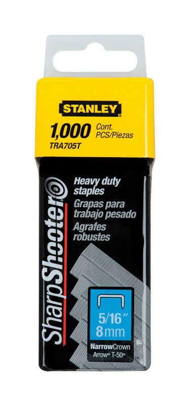Stanley  Sharp Shooter  5/16 in. W x 5/16 in. L Steel  Heavy Duty Staples  Narrow Crown  24 Ga. 1000