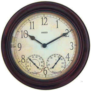 Taylor  14 inch Dial  Clock/Thermometer/Hygrometer  Metal  Brown