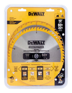 DeWalt  10 in. Dia. x 5/8 in.  Tungsten Carbide  Construction Blade Pack  32, 60 teeth 2 pk