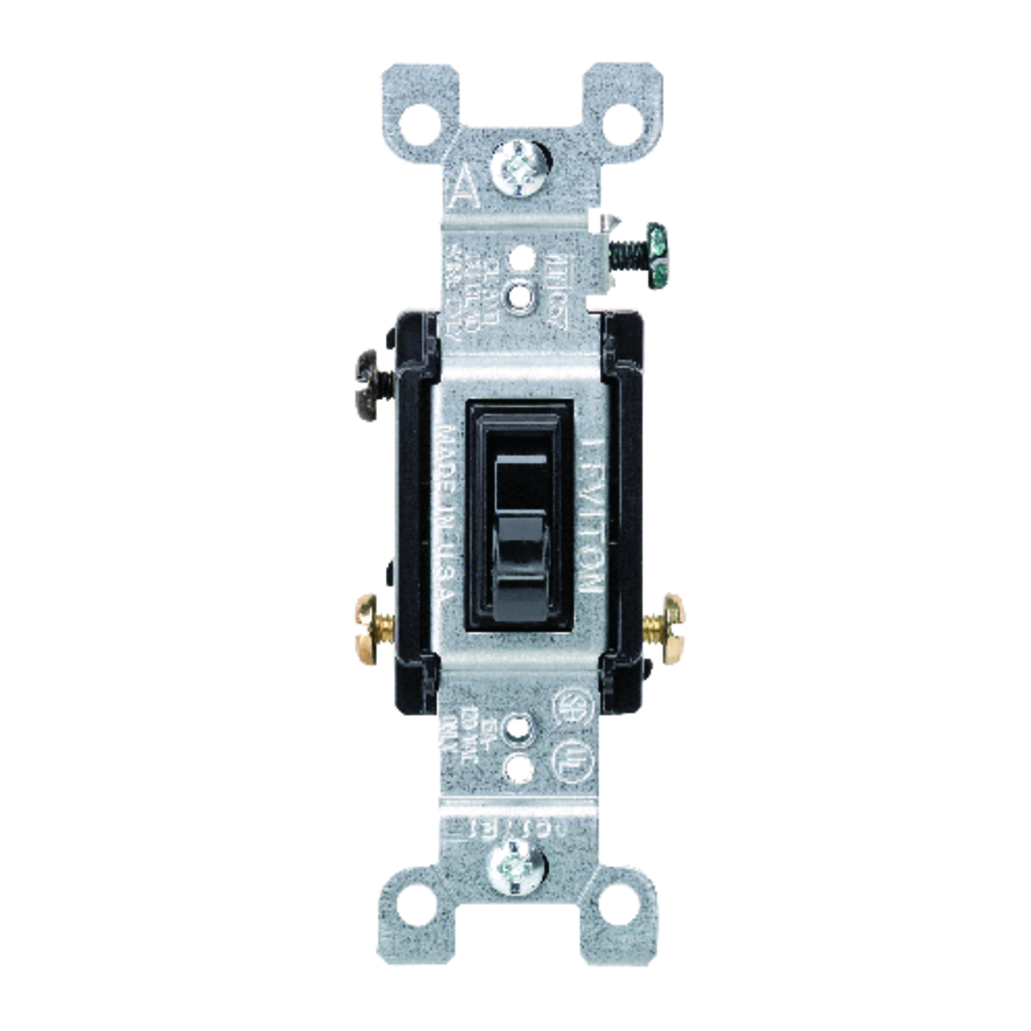 Leviton  Switch  15 amps 1 pk Black  Toggle