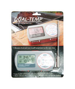 Charcoal Companion  Dual-Temp Digital  Stainless Steel  3 in. W x 1.3 in. L x 5.5 in. H Grill Thermo