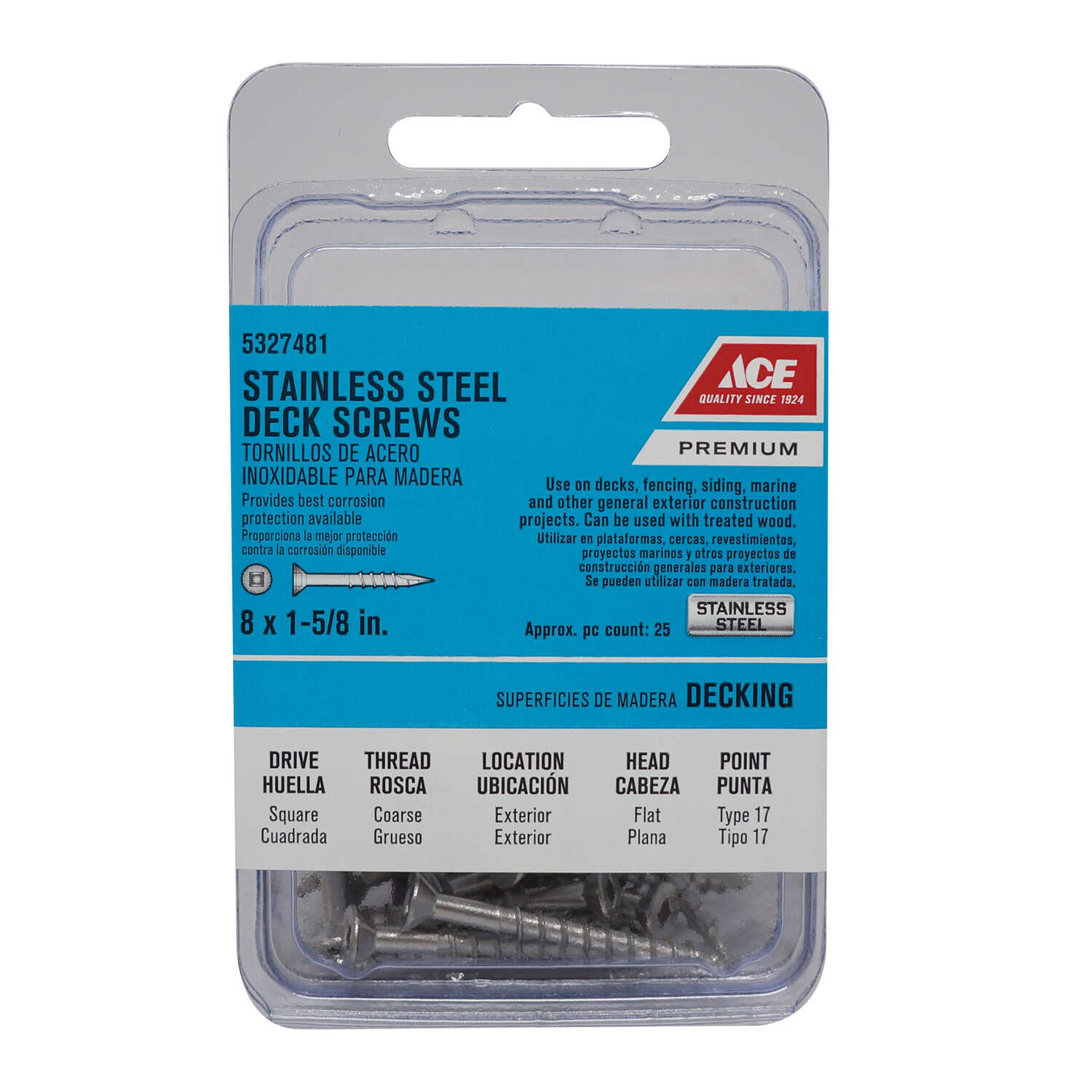 Ace  No. 8   x 1-5/8 in. L Square  Bugle Head Stainless Steel  Deck Screws  25 pk