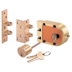 Prime-Line  Segal  Brushed Brass  Solid Bronze Alloy  Deadbolt