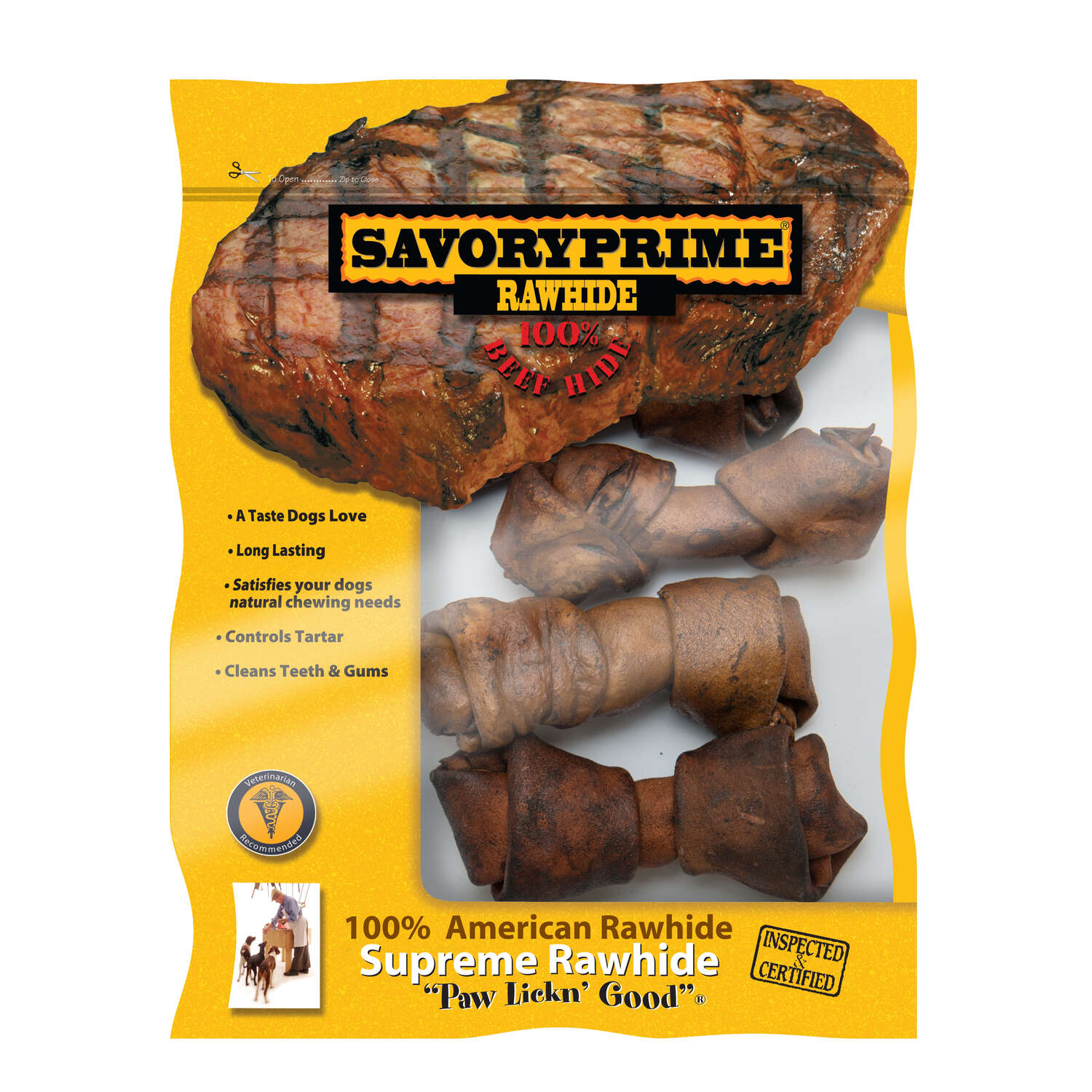Savory Prime  All Size Dogs  Adult  Knotted Bone  Beef  4-5 in. L 4 pk