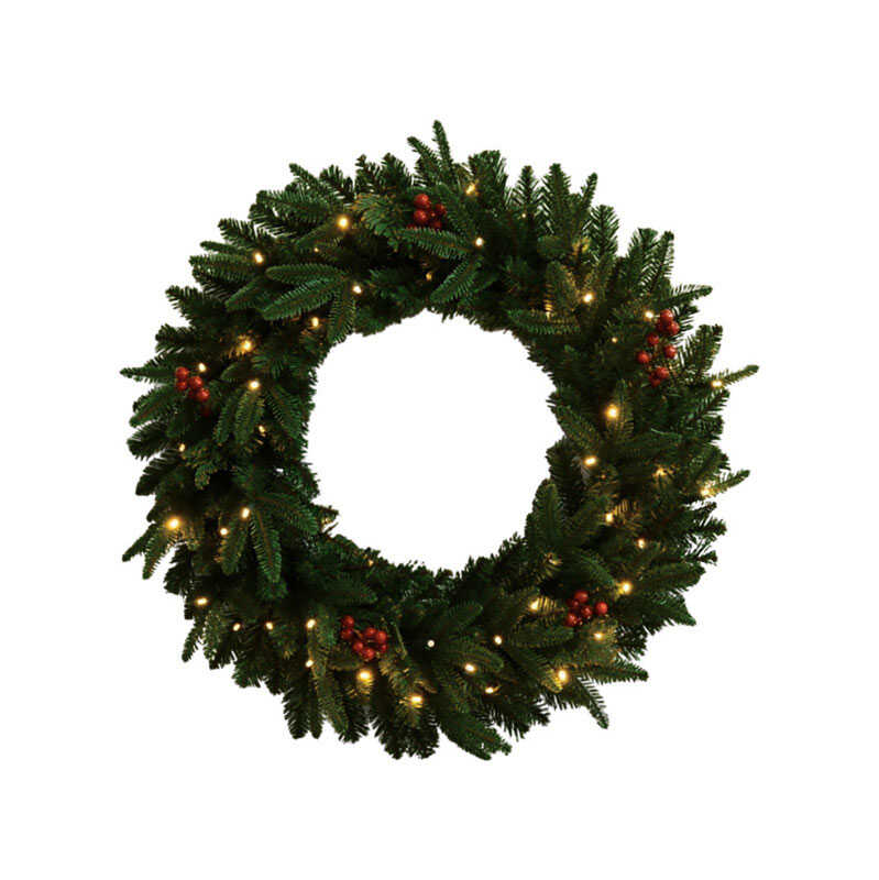 Celebrations  Prelit Christmas Wreath  30 in. Dia. Warm White  Green