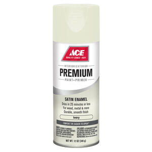 Ace  Premium  Satin  Ivory  Enamel Spray Paint  12 oz.